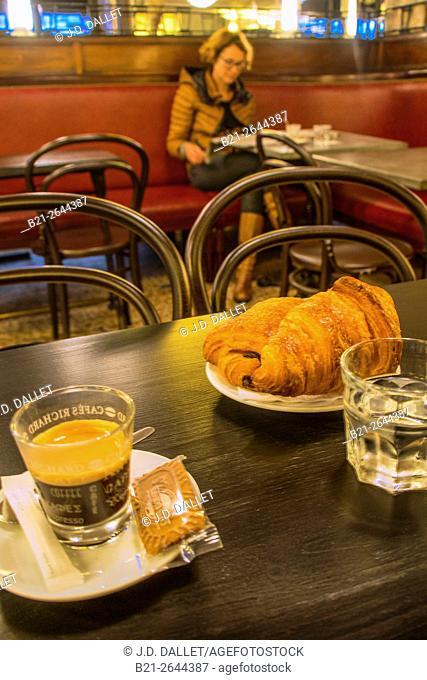 Coffee and croissants, 'Café des Arts' at Bordeaux, Gironde, Aquitaine, France