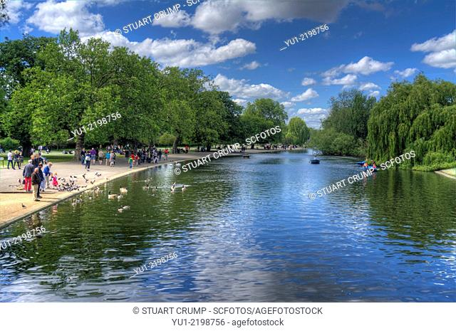 HDR image of the boating lake in Regents Park London