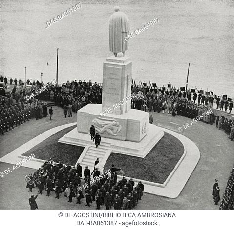 Unveiling the monument to Costanzo Ciano, Francis of Assisi square, November 16, 1941, Genova, Italy, from L'Illustrazione Italiana, Year LXVIII, No 47