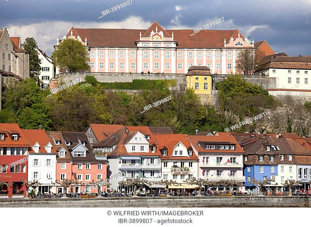 Lakeside promenade with Neues Schloss, New Castle, Meersburg, Lake Constance, Baden-Württemberg, Germany