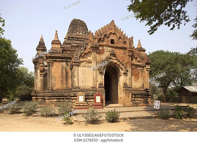 Gubyauknge temple, Old Bagan and Nyaung U village area, Mandalay region, Myanmar, Asia