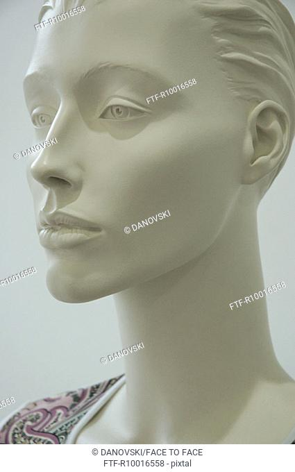 Close up of the face of an exclusive womans statue