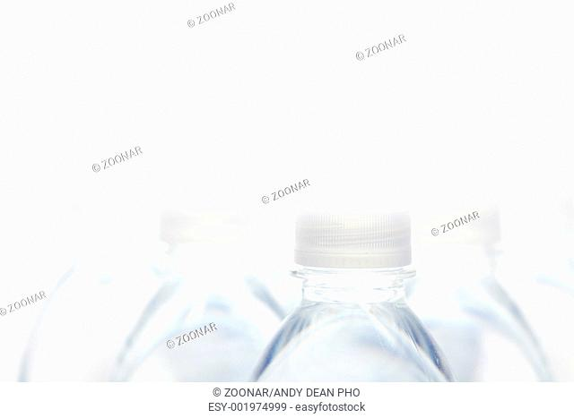 Water Bottles Abstract Image on a Gradated White Background