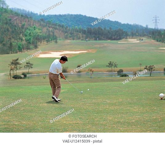 golfer, scenery, golf course, outdoors, scenic, recreation sports, landscape