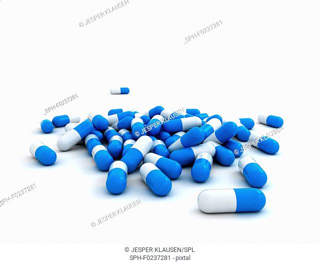 Blue and white pills, illustration