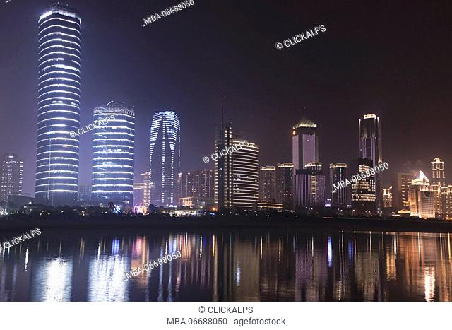 Nanchang skyline at night as seen from the east side of the city. Nanchang is the capital of Jianxi province in China