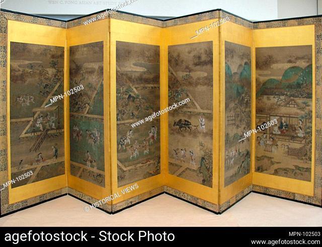 農耕作月次図屏風. Period: Edo period (1615-1868); Date: late 17th-early 18th century; Culture: Japan; Medium: Pair of six-panel folding screens; ink and...