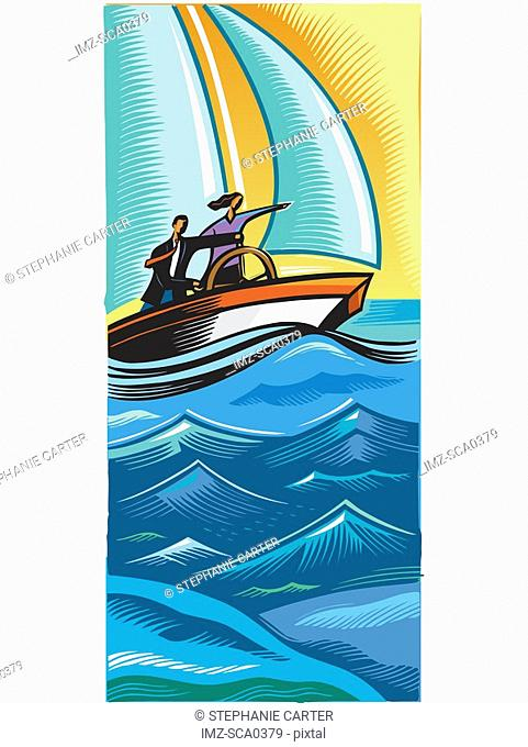 Two business people navigating in a sailboat