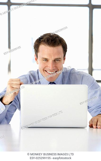 Businessman Sitting At Desk In Office Using Laptop