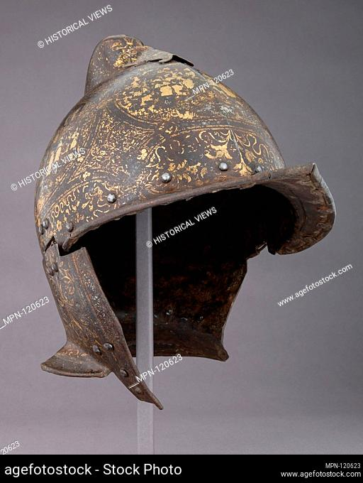 Burgonet. Date: ca. 1560-70; Geography: Milan; Culture: Italian, Milan; Medium: Steel, gold, silver, textile; Dimensions: H. 12 in. (30.5 cm); W. 8 in
