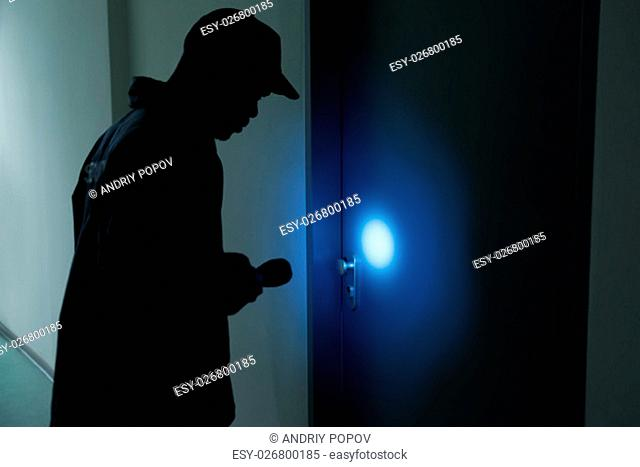Male Security Guard With Flashlight Standing In Front Of Door