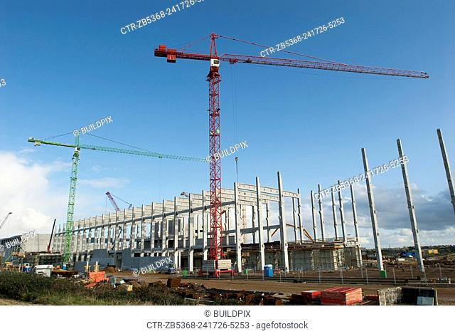Construction of the concrete framework on a paper recycling plant, Kings Lynn, Norfolk, UK
