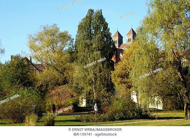 UNESCO World Heritage Site church St. Servatius, Word garden Quedlinburg, Saxony-Anhalt, Germany