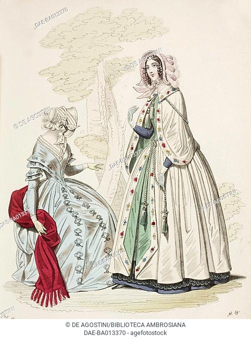 Female sketches in light blue dress with red stole and hat and with cloak and pink hat, plate 59 taken from Parisian Fashion