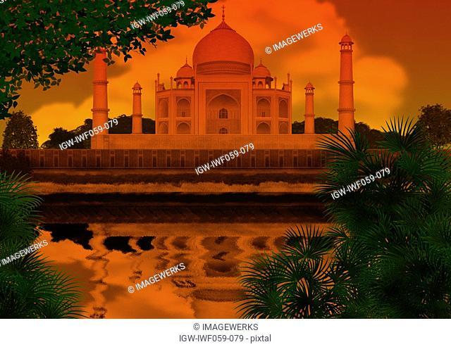 Reflection of Taj Mahal on water at dusk
