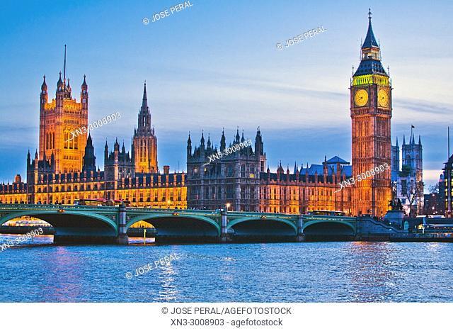 Elizabeth Tower, Big Ben, Clock tower, Houses of Parliament, Palace of Westminster, Westminster Bridge, River Thames, City of Westminster, London, England, UK