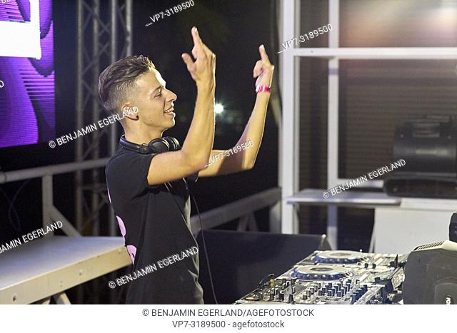 DJ Danimal performing at music festival Starbeach Chersonissos, Crete, Greece, on 09. August 2018