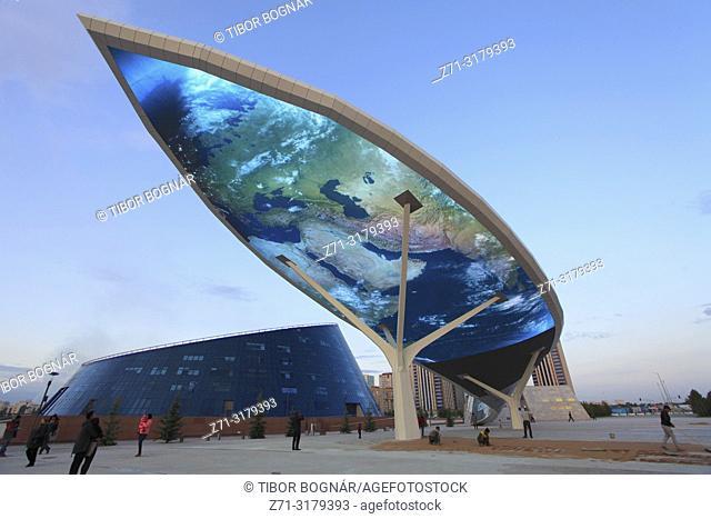 Kazakhstan; Astana; Shabyt Palace of Creativity, giant display screen,