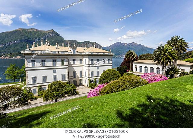 View from the upper gardens of Villa Melzi d'Eril in Bellagio, Lake Como, Lombardy, Italy