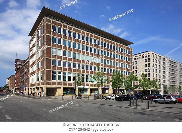 Germany, Kiel, Kiel Fjord, Baltic Sea, Schleswig-Holstein, Bahnhof Square, Raiffeisen building, former at this point was located the Hansa Hotel