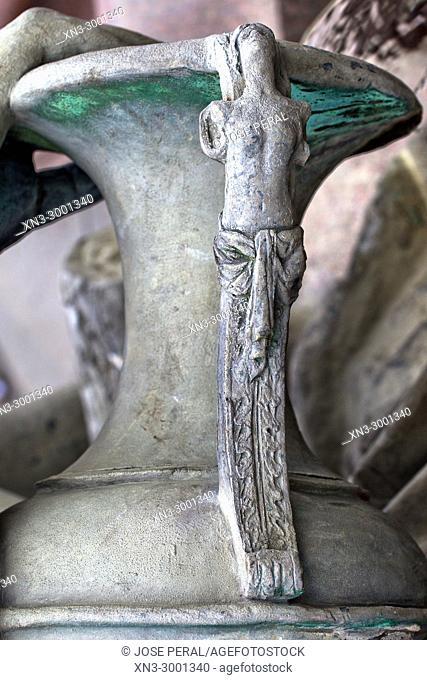 Vessel handle detail in Neptune Fountain, built in 1891 by Reinhold Begas, Mitte, Berlin, Germany, Europe