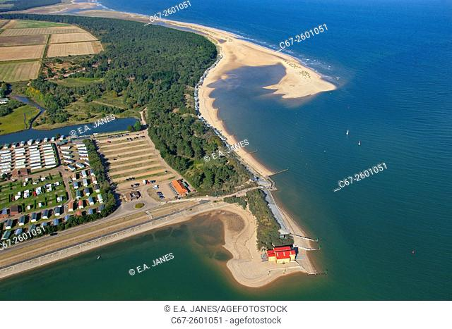 Holkham caravan park, pinewoods,Wells beach and lifeboat station Norfolk from the air