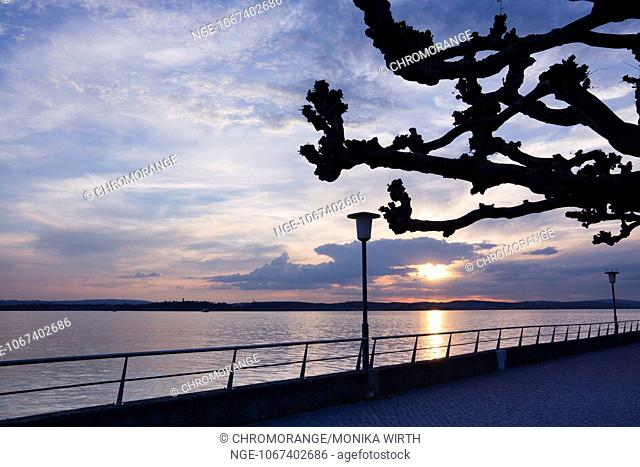 Sunset over Lake Constance, Meersburg, Lake Constance, Baden-Wuerttemberg, Germany, Europe