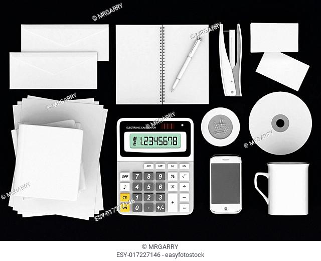 Corporate identity template on the black background