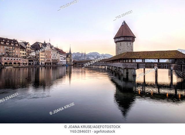 Lucerne, Reuss, Kapelll Bridge, Jesuit Church, Nadelwehr, Switzerland, Europe