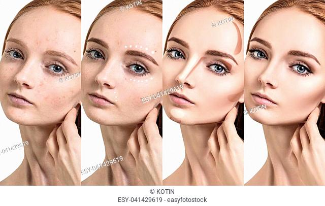 Young redhead woman applying make-up step by step. Before and after make-up