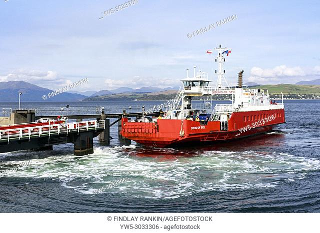 'Sound of Seil', 'Western Ferries', car ferry leaving the pier at Gourock near Glasgow on the Firth of Clyde travelling to Dunoon. Scotland, UK