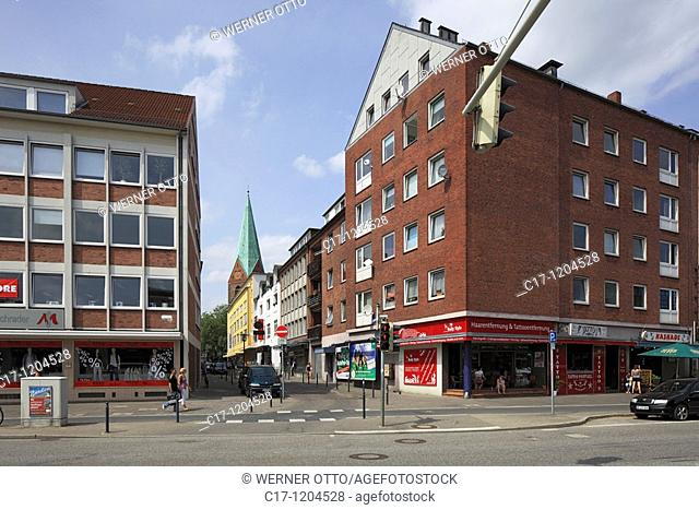 Germany, Kiel, Kiel Fjord, Baltic Sea, Schleswig-Holstein, multy-family houses at the Wall, business premises, view through the Schuhmacher Street to the church...