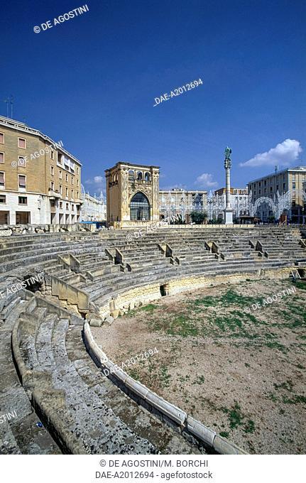 Roman amphitheatre, 2nd century and Palazzo del Seggio or Sedile, 16th century, Lecce, Apulia, Italy