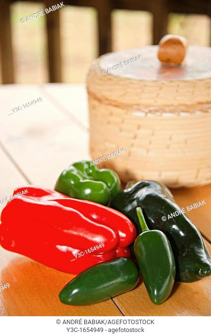 Fresh chili peppers as ingredients for mexican cooking