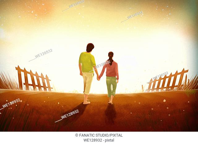 Illustration of couple enjoying sunset view on beach