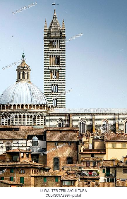 Tower and dome of Santa Maria Assunta, Siena, Italy
