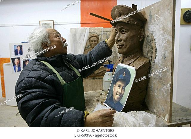 Fu Shou Yuan cemetery, artist, cemetery during Ching Ming Festival, artist Wang Song Yin, 5th of April, sculpture of a tombstone for a former military officer