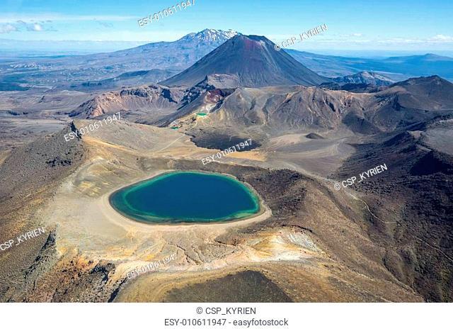 Tongariro national park Mountains and Blue Lake