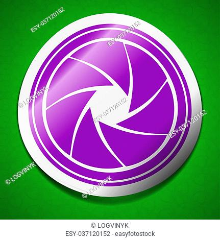 diaphragm icon sign. Symbol chic colored sticky label on green background. illustration