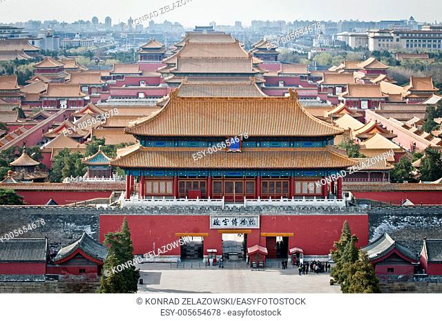 Aerial view on Forbidden City seen from Jingshan Park in Bejing, China