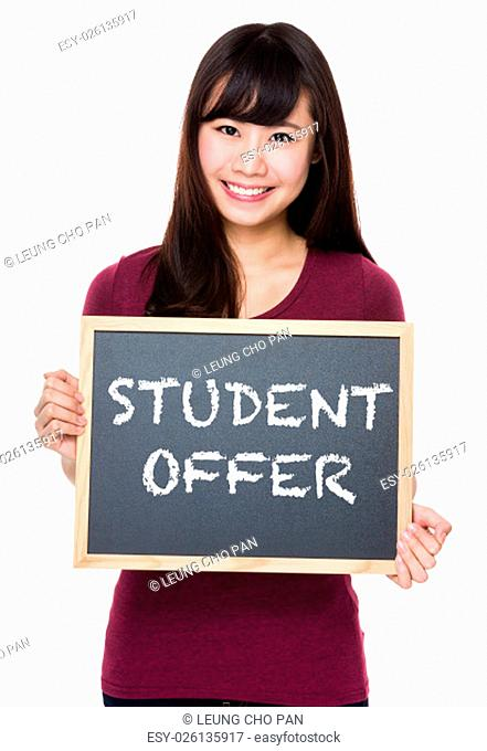 Woman with black board and showing student offer