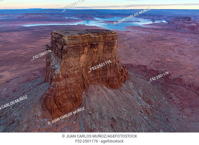 USA, Arizona, Page, Lake Powell and Colorado River seen from above