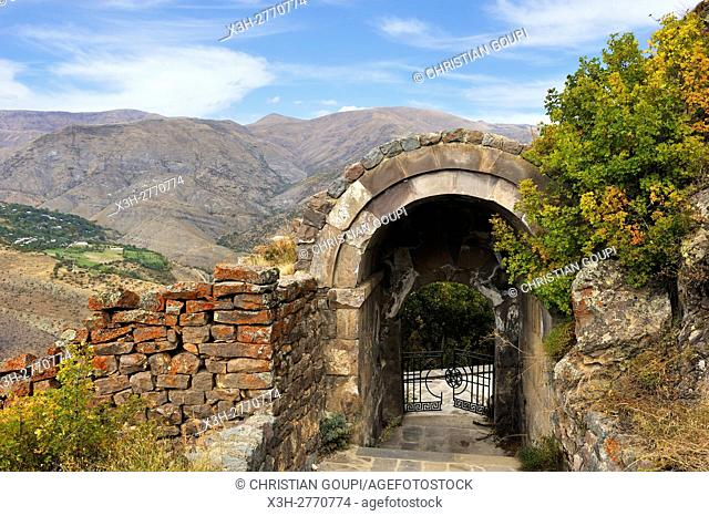 north gate of the Smbataberd Fortress, located upon the crest of a hill between the villages of Artabuynk and Yeghegis, near Yeghegnadzor, Vayots Dzor province