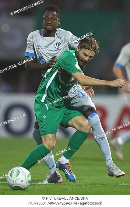 17 August 2018, Germany, Schweinfurt: Soccer, DFB Cup, 1st round, 1st FC Schweinfurt 05 vs FC Schalke 04 at the Willy-Sachs Stadium