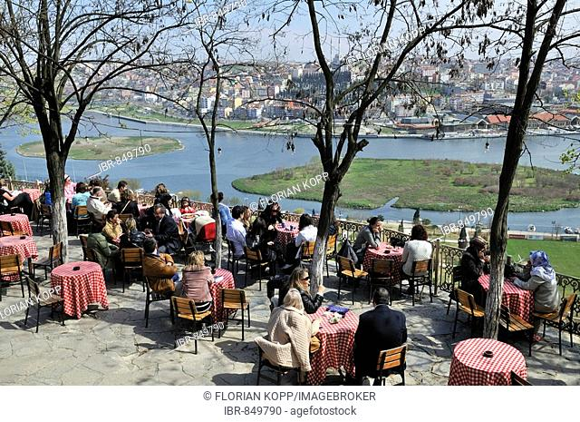 View from Café Pierre Loti towards the historic centre of Istanbul, Istanbul, Turkey