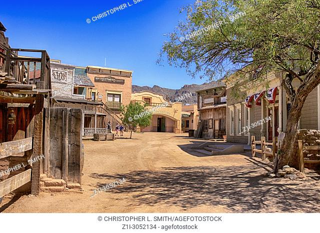 Main Street at the Old Tucson Film Studios amusement park in Arizona