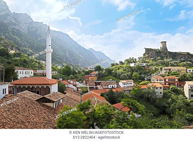 Kruja, Durres County, Albania. Castle of Kruja and Skanderbeg Museum. Minaret of the Bazaar Mosque on right. The mosque is on the list of Religious Cultural...