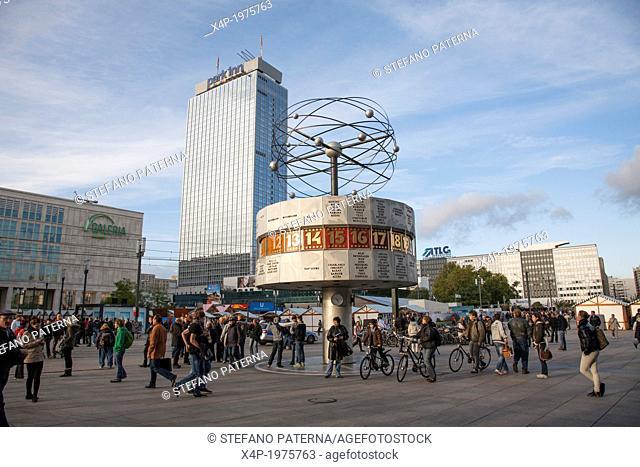 World Clock and Park Inn Hotel, Alexanderpaltz, Berlin, Germany