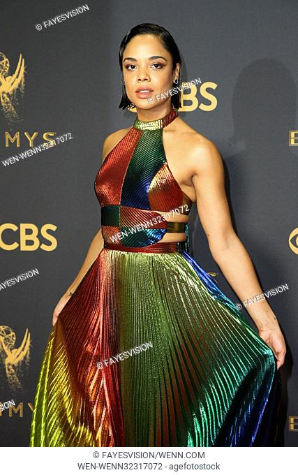 The 69th Emmy Awards At The Microsoft Theater In Los Angeles, California Featuring: Tessa Thompson Where: Los Angeles, California