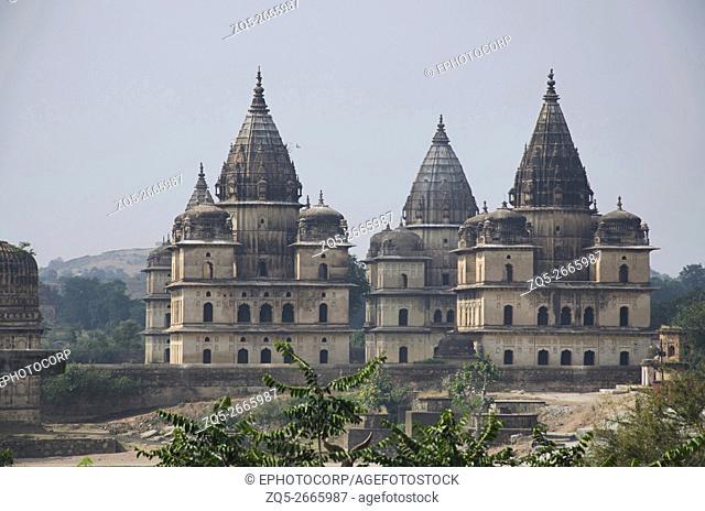 Exterior view of chhatri at Orchha. Town established by Rudra Pratap Singh after 1501, Betwa River, Orchha, Tikamgarh District, Madhya Pradesh, India